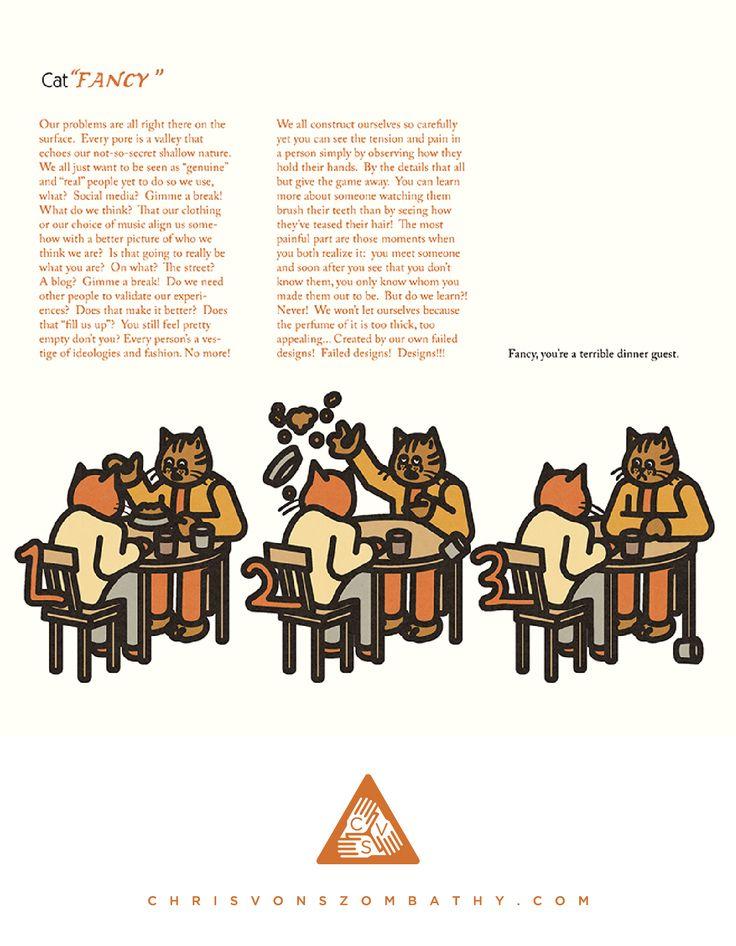 """Cat Fancy"" an illustration by artist/designer Chris von Szombathy."