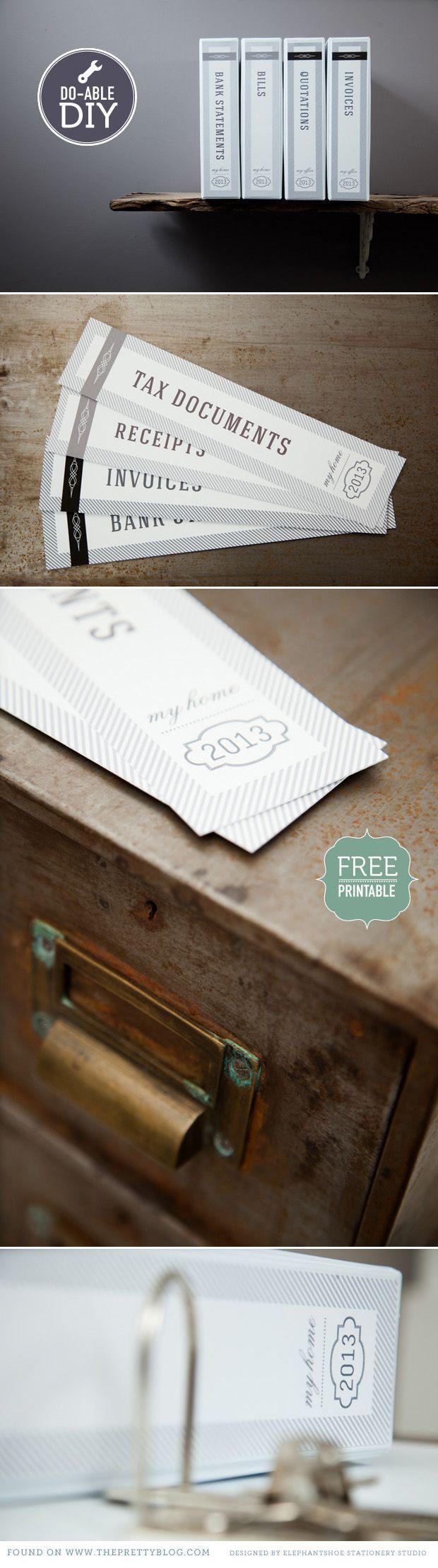 "DIY - Pretty Organizers for your ""unfun"" Finance Docs - Free PDF Printables"