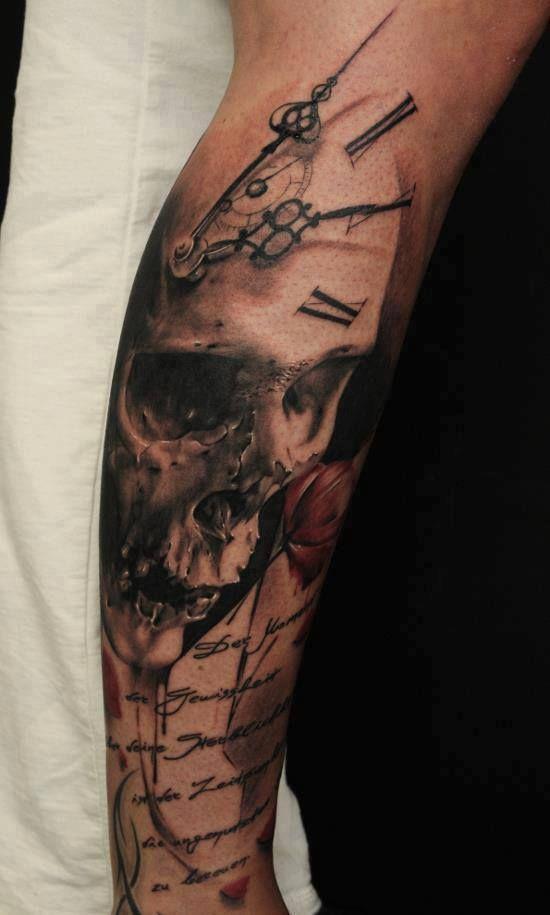 Tattoo - Skull - Time - Script - Black, Grey, Red
