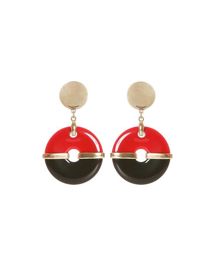 Coppia di #orecchini con pendenti circolare nero e #wine