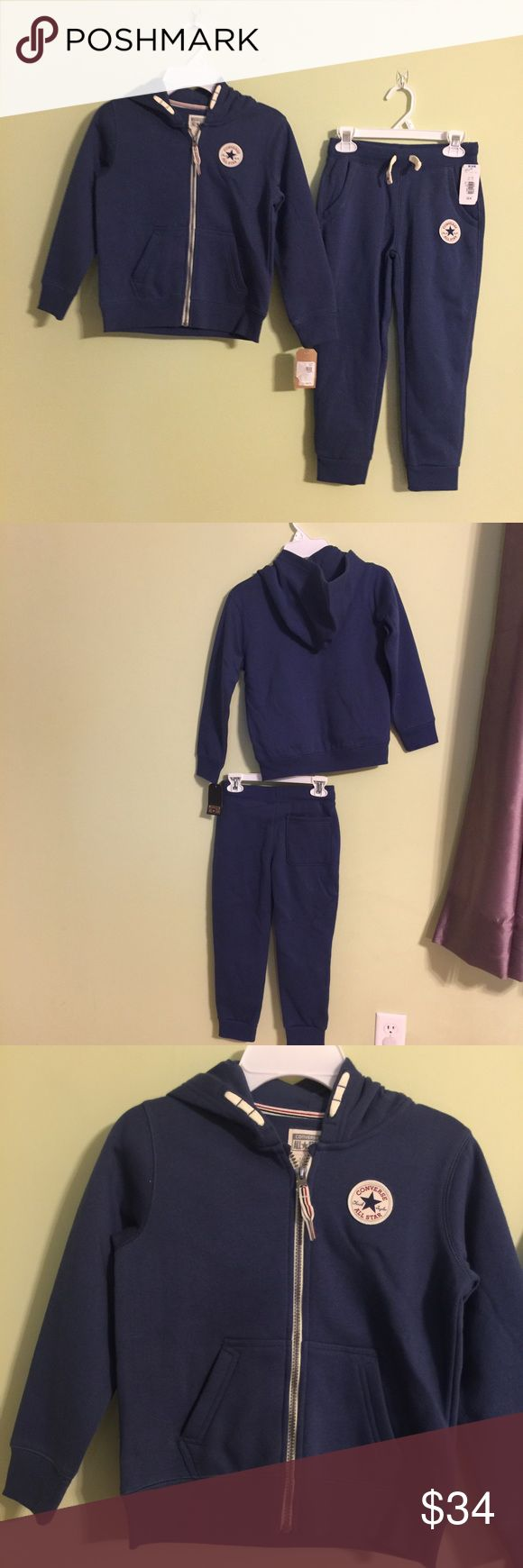 Converse Zip Hoodie w/matching sweatpants NWT Converse Zip Hoodie w/matching sweatpants NWT. Brand New never worn! Comes from smoke free and pet free house. Great Find! Set originally sold for $82. I'll consider reasonable offers and you can bundle and save on shipping. Converse Matching Sets