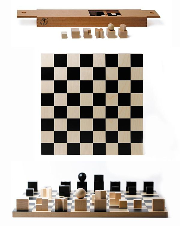 bauhaus chess men set exclusively produced by naef