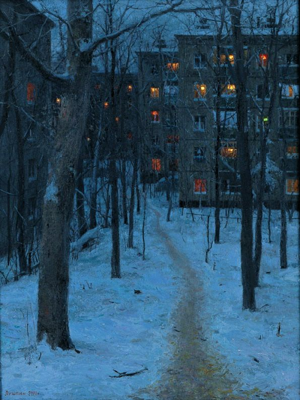 Evgeny Lushpin (oil on canvas). This makes me think of the film Let the Right One In (the Swedish one). And it really captures how blue snow looks at that time of day.
