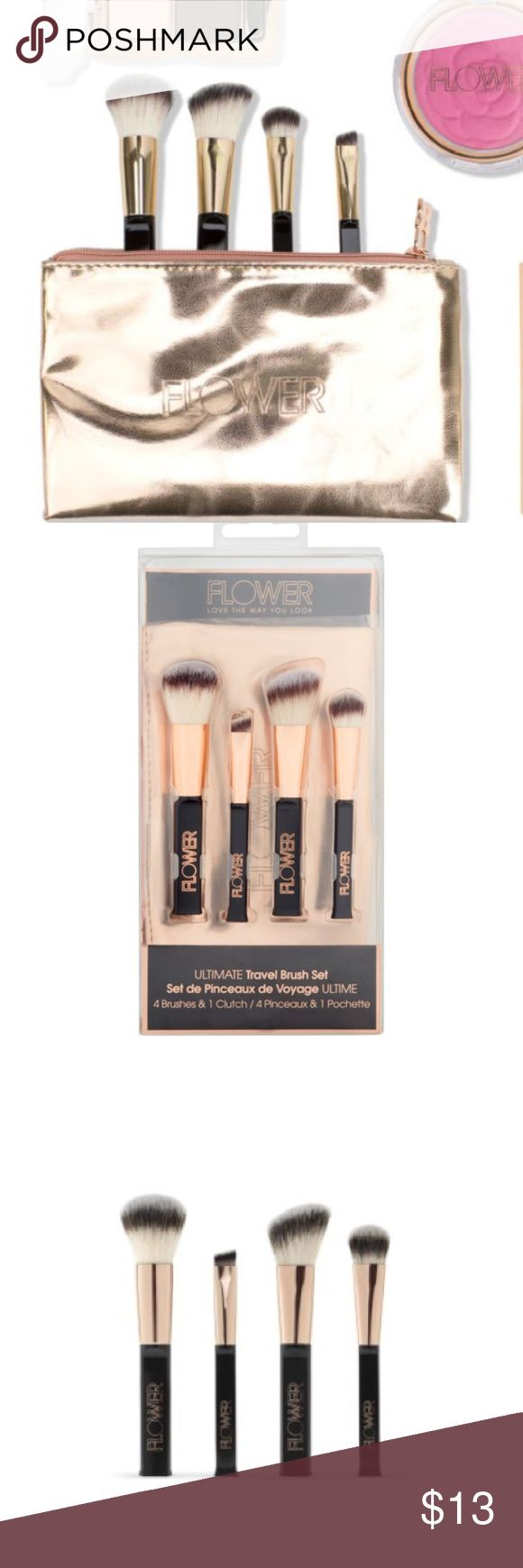 Flower Ultimate Travel Brush Set: Brand new in box. Ultimate Travel Brush Set   Keep the essential makeup brushes by your side with our exclusive travel clutch!  All your brush essentials go mini!  Includes: Power Brush, Blush/Contour Brush, Eyeshadow Brush, Eyeliner Brush, and Rose Gold Clutch Softest, finest man-made hair Washable brush head Flower Makeup Brushes & Tools