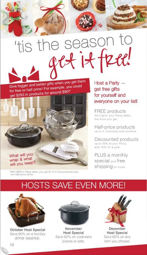Pampered Chef 2013 Christmas catalog list of hostess ...