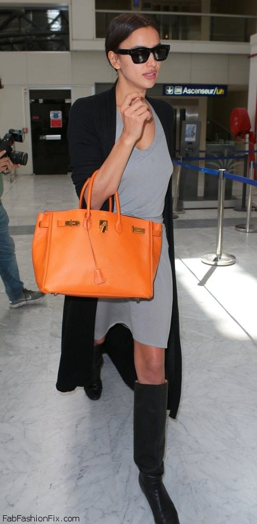 Irina Shayk style with cardigan, grey dress and Hermes handbag in Cannes (May 2015). #irinashayk