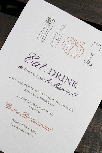 Eat, Drink and Be Married   Fall Rehearsal dinner invitation by Hobart & Haven
