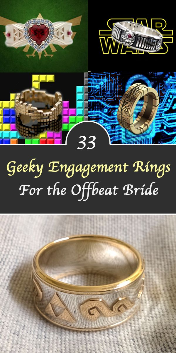 Geeky Engagement Rings - Geeky Rings - Geeky Rings Harry Potter - Geeky Rings Doctor Who - Geeky Rings Nerd - Geeky Jewelry - Diamonds are so overrated. Many of us gals and guys would prefer a geeky engagement ring and a zelda shirt over shiny diamond rings and tux. If your special one loves geeky things and you're ready to pop the question, then check out these 33 Geeky Engagement Rings For the Offbeat Bride.