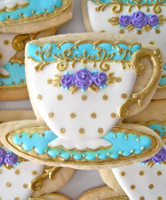 .Oh Sugar Events: Teacups - I love the design & colors of icing - with the polka dots to set it off in style...teal, white, purple & gold. Gorgeous...