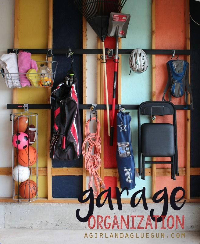 organize your garage with the new rubbermaid Fasttrack found at Home depot! EAsy to swap out for each season!