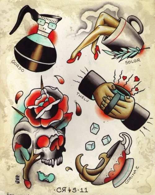 Finally, the American traditional tattoo I've been searching for that accurately represents my addiction to caffeine. Honestly though, these are great.