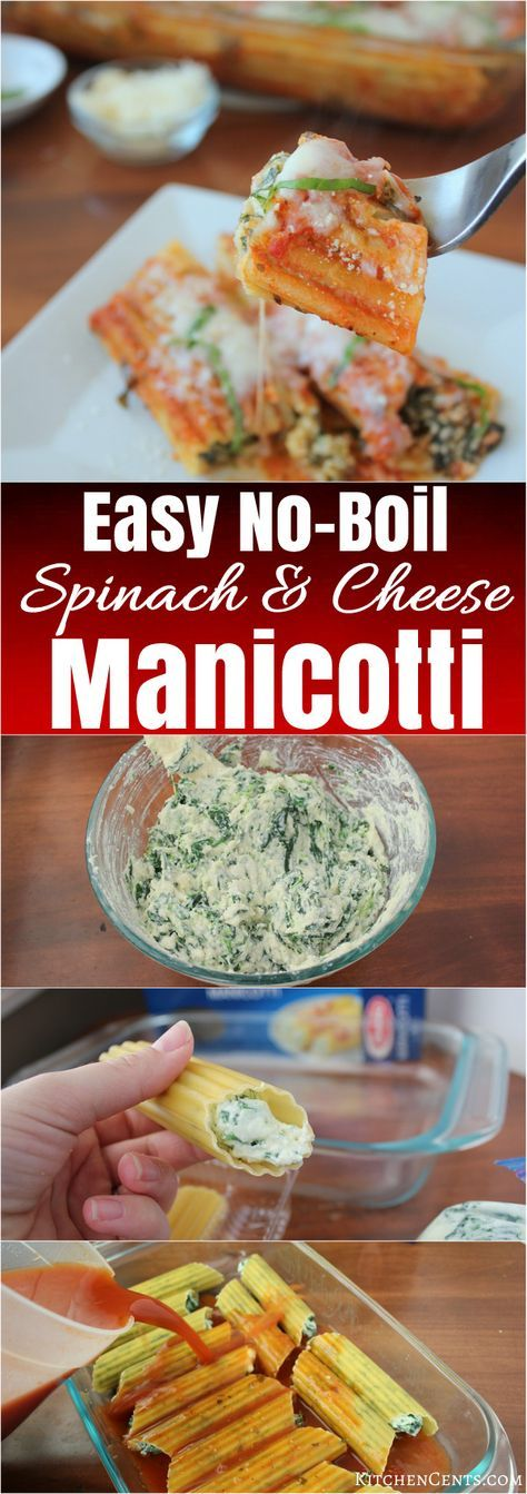 This Easy No-Boil Spinach and Cheese Manicotti is a delicious, cheesy pasta recipe that uses a no-boil hack to lessen prep time. This manicotti is stuffed with a creamy spinach and cheese filling. They're smothered in red pasta sauce and sprinkled with mozzarella cheese.
