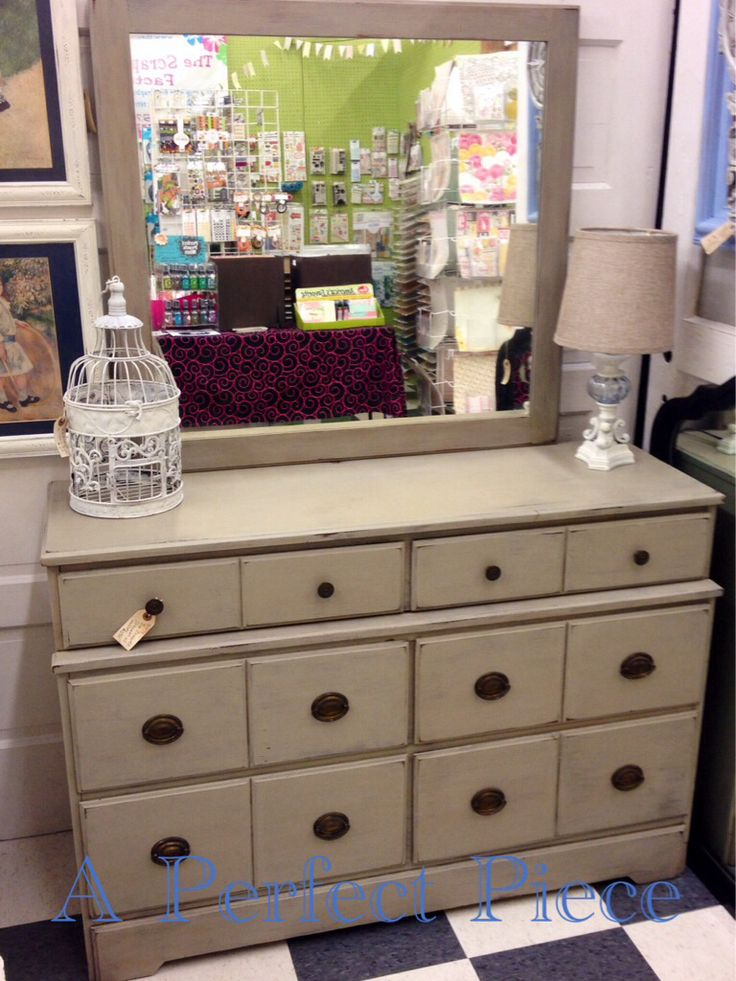 Six drawer lowboy dresser with mirror painted