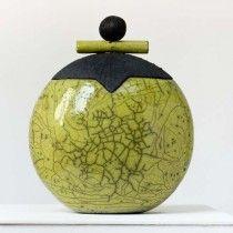flacon vert céramique raku , Anne THIELLET, céramiste Raku
