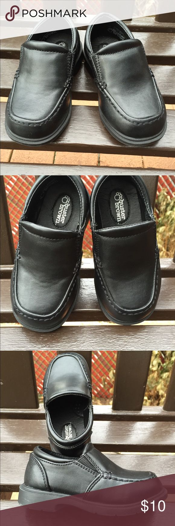 Toddler boys dress shoes Dress shoes slip on black faux leather by Buster Brown. These shoes are in great condition. Perfect for the holidays, communion or just to wear to school. No signs of wear. Size toddler boy 7W. Buster Brown Shoes Dress Shoes
