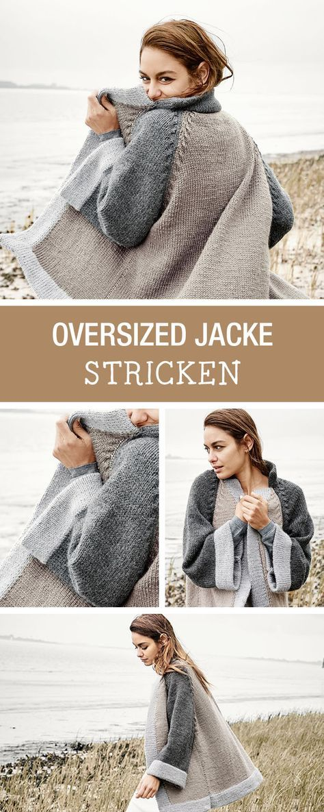 DIY Tutorial: knit trendy oversize jacket for winter, your cardigan for fall / DIY tutorial: knitting trendy oversize jacket for winter …
