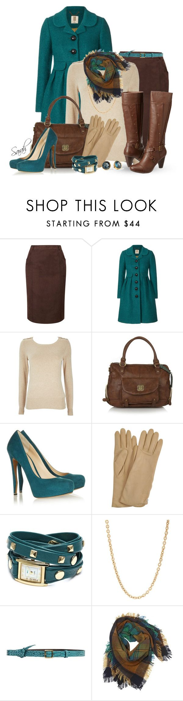 """Teal, Brown, and Beige Gold"" by of-simple-things ❤ liked on Polyvore featuring CC, Orla Kiely, Wallis, Nica, Nicholas Kirkwood, AGNELLE, La Mer, Mark Davis, Philosophy di Alberta Ferretti and Contileoni"