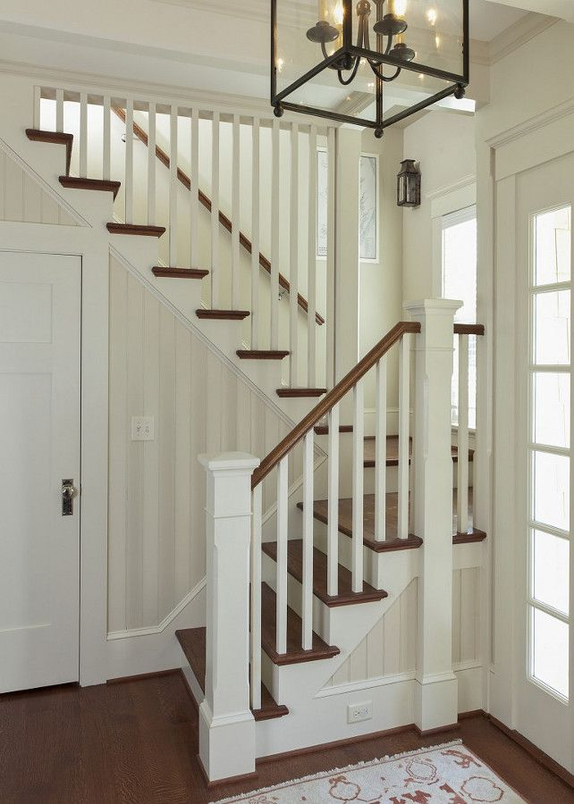 Stained railings and treads, painted risers, spindles and newels