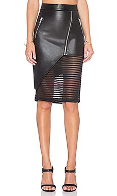 Mason by Michelle Mason Leather Skirt with Sheer Inset in Black
