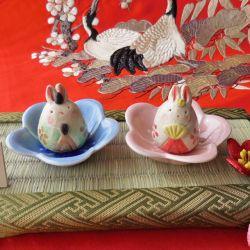 瀬戸焼 工房SAO 花中兎雛飾り 陶器製 うさぎ お雛様 ひな人形 ひな祭り 日本製