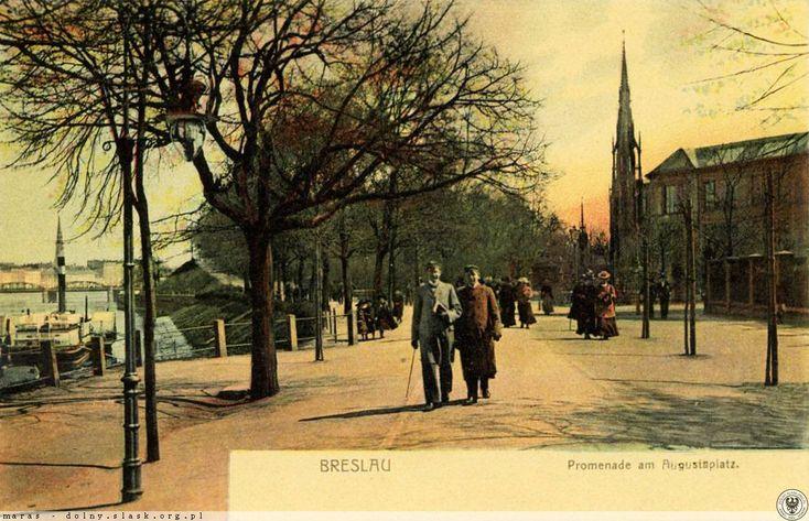 Promenada nad Odrą, dzisiejszy bulwar Dunikowskiego. W tle pomnik Zwycięstwa.  Lata 1895-1901