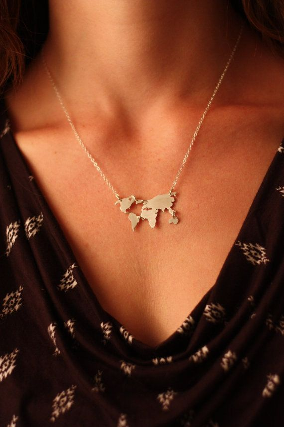 World map sterling silver pendant necklace by IvyByDesign on Etsy. This necklace is absolutely gorgeous and the detail is amazing! 100% sterling