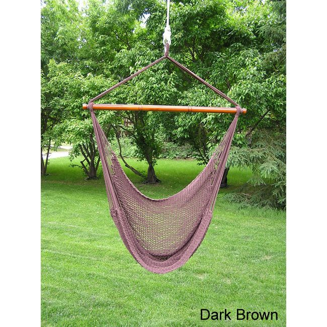 Sit back, relax and cozy in pure comfort. Our extra large rope hammock swing is attractive and comfortable addition to any porch, tree limb, or overhang. Kick your feet up and relax in this hand-made extra soft-spun poly rope swing.