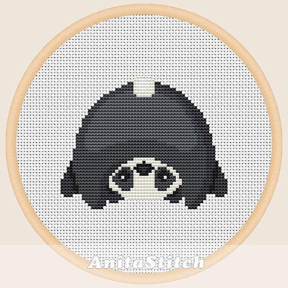 Panda upside down Cross stitch pattern от AnitaStitch на Etsy