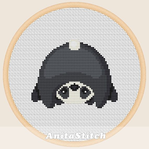 Panda upside down - Cross stitch pattern
