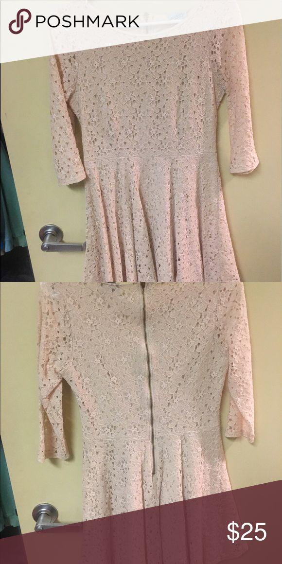 Lace Dress Tan Lace Dress, fit and flare; three quarter sleeve Dresses Mini