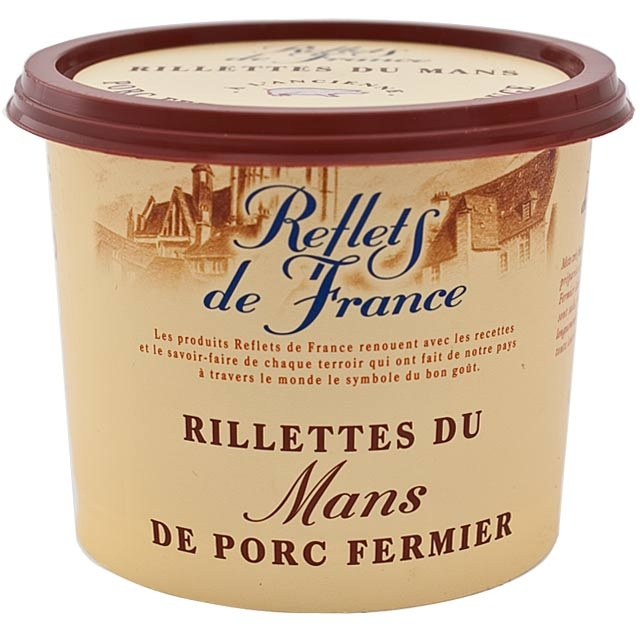 """""""Rillettes ist ein französischer Brotaufstrich aus im eigenen Saft und Fett gekochtem und konserviertem Fleisch, welcher insbesondere in der Gegend um Le Mans (Sarthe) hergestellt wird."""" wikipedia Reflets de France Pork Rillette"""