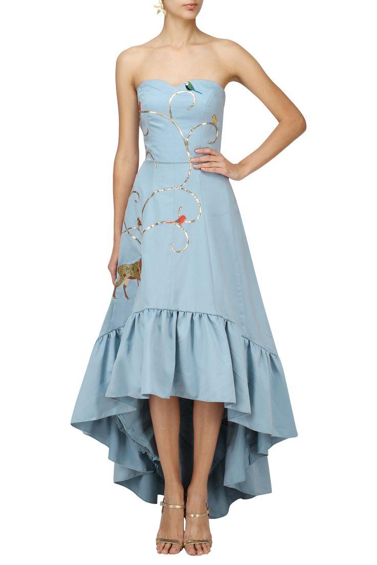 VARSHA WADHWA. Powder Blue Embroidered Mullet Dress. Shop now! #powderblue #indianfashion #indiandesigners #fashion #embroidered #perniaspopupshop #happyshopping