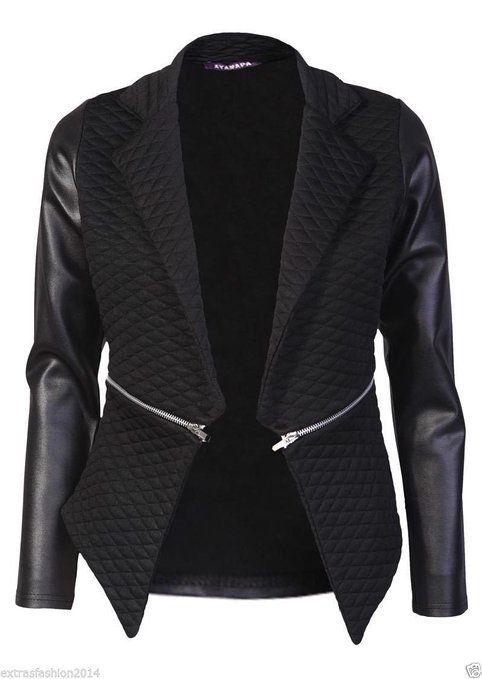 Women Ladies Quilted PU Leather Look Long Sleeve Zip Waterfall Blazer Jacket Top (10, Black)