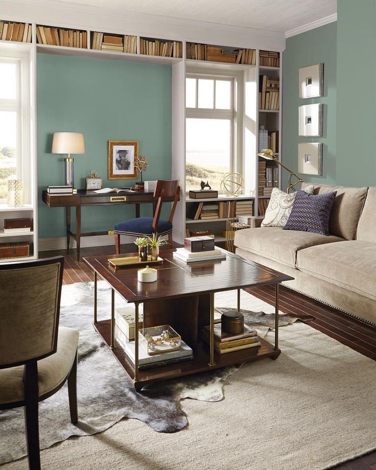 living room wall paint colors%0A Looking to add upscale style to your living room  To capture the serenity  of old world France  try walls in Parisian Patina SW