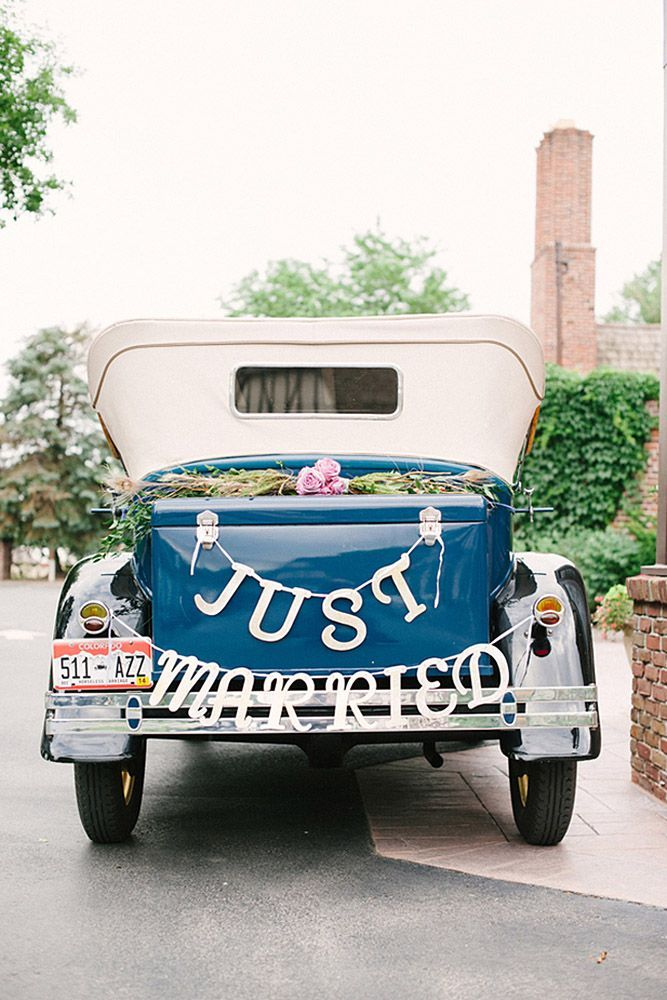 30 Vintage Wedding Car Decorations Ideas ❤️ wedding car decorations decorated with green roses and inscription just married sarah joelle photography ❤️ See more: http://www.weddingforward.com/wedding-car-decorations/ #wedding #bride #weddingdecor #weddingdecorations #weddingcardecorations