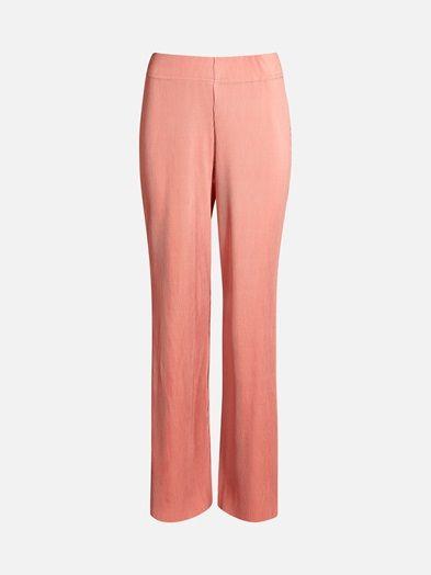 Loose leg plissè trousers. Wide elastic waistband.  Tummanpinkki