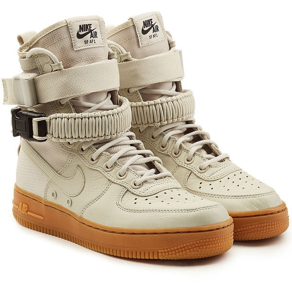 Nike Sf Air Force 1 High Top Sneakers 215 Liked On Polyvore Featuring Shoes Sneakers Beige Mili Nike Air Force High Military Shoes Nike Shoes High Tops