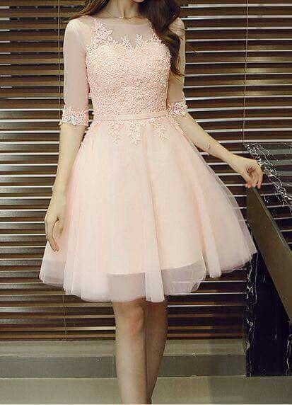 Lace Prom Dress,Middle Sleeve Prom Dress,Fashion Homecoming Dress,5130