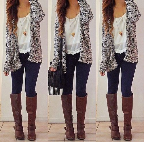 This is such an adorable fall outfit. Love oversized cardigans ♡♡♡