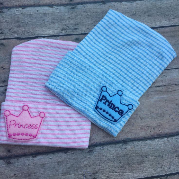 Baby Hospital hat - Prince - Princess - Newborn baby girl - baby boy - baby shower gift - Twins - Hospital Hat - Prince hat - Princess hat by BBgiftsandmore on Etsy