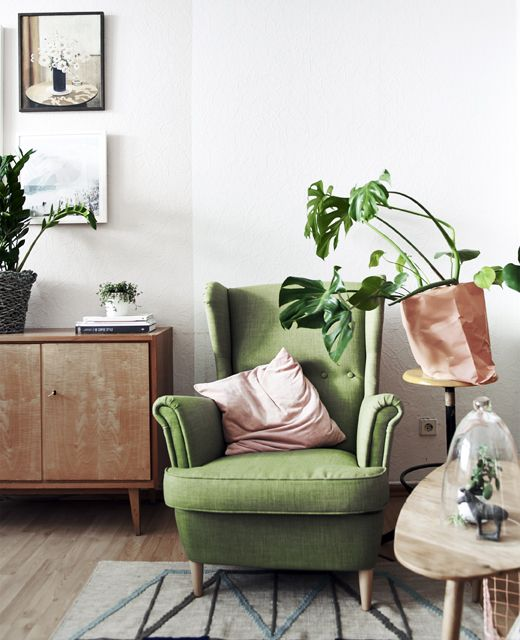 A green armchair next to a pot plant and coffee table.
