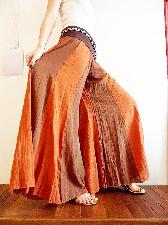 Design Cotton Pants Two Tone Dark Orange Fusion by CottonClothing
