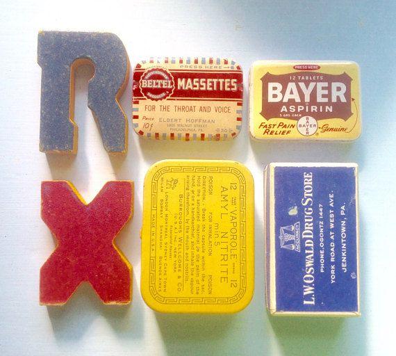 4 Vintage Pill Tins Medicine Boxes Typography Amyl Nitrite
