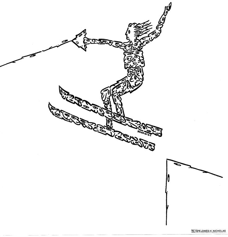 """LOOK CLOSELY!, """"WATERSKIER, MADE OF LITTLE FACES"""" - Created by comic illustrator, 'NICHOLAS', for a series of hundreds of humorous, original images, drawn with little faces and objects. These drawings can be placed on any variety of objects - from posters, greeting cards, postage stamps, to t-shirts, children's wallpaper, coffee and beer mugs, and pillows, as well as sports items. These illustrations are available on many objects sold by 'Zazzle', by going to 'Minifaces by Nicholas'."""