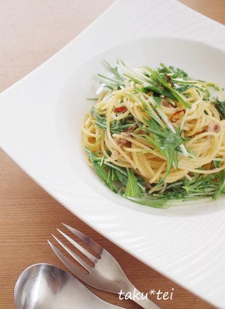 ツナと水菜のパスタ♪ by taku*tei [クックパッド] 簡単おいしいみんなのレシピが230万品