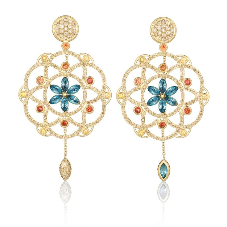 One-of-a-kind Damali gold earrings by Lily Gabriella with 5.40 carats of cognac diamonds, orange sapphires and blue topaz. Discover Lily Gabriella's fashionable and versatile jewels for fashion forward ladies: http://www.thejewelleryeditor.com/jewellery/article/lily-gabriella-pop-up-shop-harvey-nichols/ #jewelry