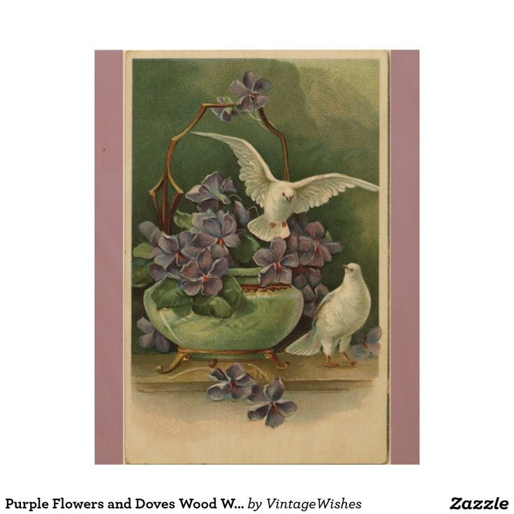 Purple Flowers and Doves Wood Wall Art - #vintagewishes #windywinters #zazzle