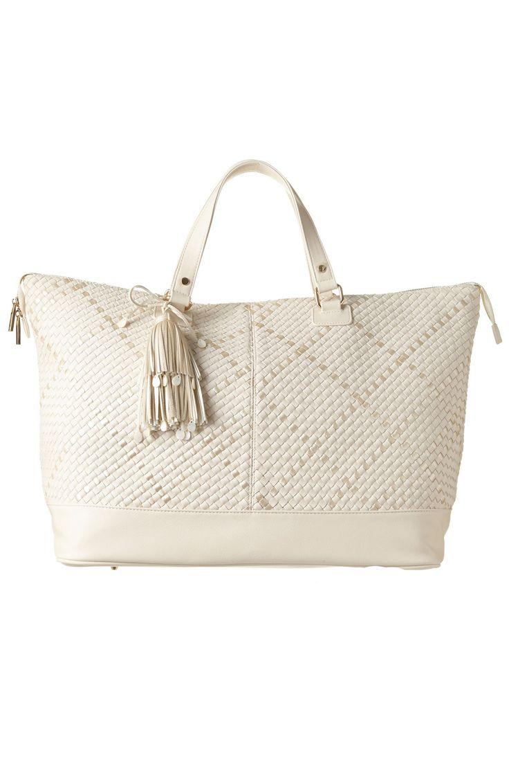 Deux Lux Exclusive Vegan Weekender Tote Beach Bag Ivory/Pearl One