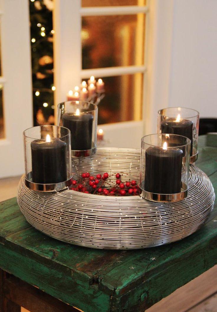 Edzard adventskranz verona aus feinem edelstahl weihnachten pinterest - Adventskranz aus metall dekorieren ...