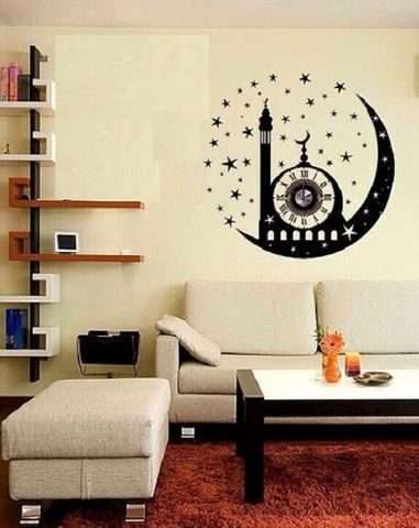 Islamic Decoration Sticker Clock Consider about the size of the
